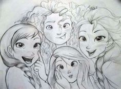 Rapunzel, Merida, Anna and Elsa sketches by frozenloki