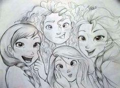 Rapunzel, Merida, Anna and Elsa sketches by frozenloki