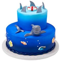 Shark Themed Decoset® for any sized cake Ocean Birthday Cakes, Ocean Cakes, Beach Cakes, 5th Birthday, Birthday Ideas, Shark Fin Cupcakes, Shark Cake, Kid Cupcakes, Dolphin Cakes