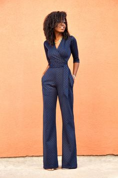 1.11.2016 Style Pantry|Navy Diamond Print Jumpsuit