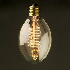 Vintage Edison Spiral Plum tungsten filament bulb | Fish Bone Lightbulb |