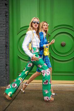bright florals. green door. living in color.