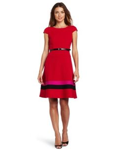 Anne Klein Women's Color Banded Hem Swing Dress: Amazon.com: Clothing:Disclosure affiliate link $129.00