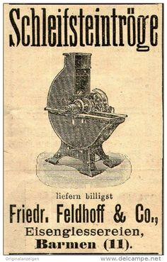 Original-Werbung/ Anzeige 1906 : SCHLEIFSTEINTRÖGE / FELDHOFF - BARMEN - ca. 45 x 75 mm