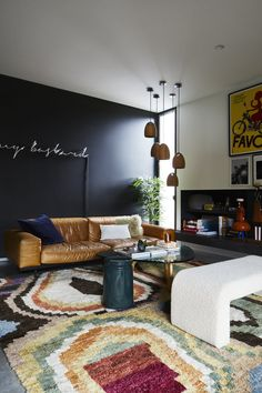 Richmond Hill Residence - Styling by Simone Haag. Design by Angela Harry and Photography by Armelle Habib Cozy Living Rooms, Living Room Modern, Living Room Furniture, Living Room Decor, Living Spaces, Blue Dining Tables, Real Living Magazine, Armelle, Curved Sofa