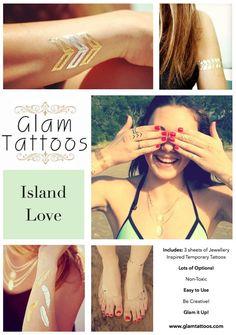 Glam Tattoos - Island Love #2- Individual Sheet - Free Worldwide Shipping!