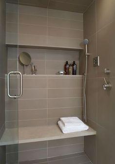 good niche, showerhead, seat, door