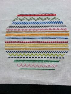 Stitches: Portuguese knotted, Jordanian (combination of fern and chain), Feather Twisted lattice band, Fern, Pekinese Basic Embroidery Stitches, Embroidery Sampler, Silk Ribbon Embroidery, Embroidery For Beginners, Hand Embroidery Patterns, Diy Embroidery, Embroidery Techniques, Cross Stitch Embroidery, Embroidery Supplies