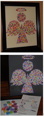 SMS kindergarten class project for auction, 2011. Fingerprint angel.