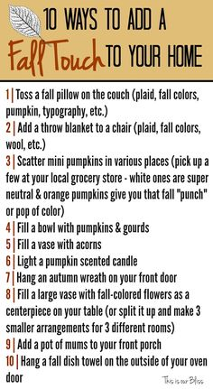 10 ways to add a fall touch to your home This is our Bliss DIY fall decor Herbst Bucket List, Fall Room Decor, Fall House Decor, Hallowen Ideas, Autumn Decorating, Decorating Ideas, Decor Ideas, Craft Ideas, Fall Pillows