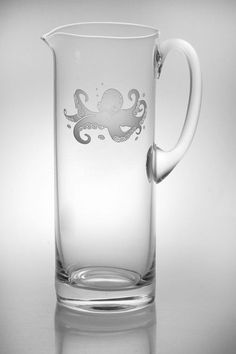 New! Delicately etched tall Octopus Cocktail handled pitcher with an elusive eight-legged octopus design for our coastal customers.