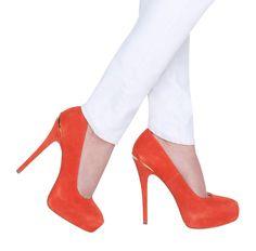 Carrie Orange Suede Heel