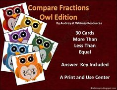 Compare Fractions Owls from Whimsy Resources on TeachersNotebook.com -  (10 pages)  - Math Center - Compare Fractions - Intermediate - Owls