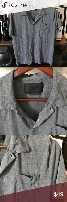 Prada collared short sleeve shirt Beautifully soft, two button front collared shirt. From pocket left side Prada Shirts Casual Button Down Shirts