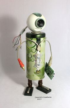 Metal found object junk art sculpture. Dr. Ceylon is made using all second hand materials by LauriesCreatures.
