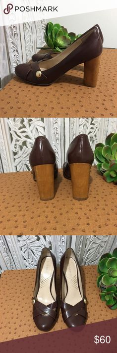ENZO ANGIOLINI Brown button wooden heels Designer Brown leather heels  Wooden round heel  Silver button detail  So comfortable great quality  Worn only a few times in the office ( also available in Black ) Enzo Angiolini Shoes Heels