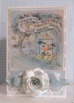Vintage handmade card shabby chic  Birds robins