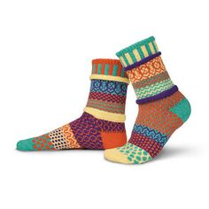 LOVE these Whimsical Eco-Knit Socks, They're made from recycled cotton yarn. Plus, the knitter, Marianne Wakerlin, is from Vermont!