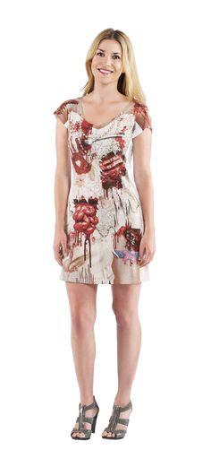 Déguisement robe zombie femme Halloween : Ce déguisement de zombie pour femme se compose d'une robe (chaussures non incluses). La robe à manches courtes est blanche. Elle est imprimée des deux côtés...