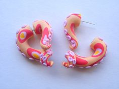 Spotted Apricot Octopus Tentacle Earring Fake Gauge  by deceptions, $22.00