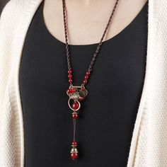 Ethnic Vintage Garnet Beads Hollow Phoenix Carving Casual Shirts Sweater Long Necklace for Women
