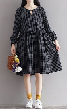 Women loose fit over plus size checkers dress fashion black white casual wear #Unbranded #dress #Casual