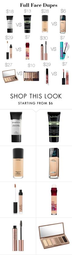 """Full Face Dupes"" by katerogers219 on Polyvore featuring beauty, Smashbox, NYX, MAC Cosmetics, Maybelline, NARS Cosmetics, Urban Decay and Kylie Cosmetics"