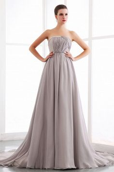 Strapless Classic Silver Celebrity Gowns - Order Link: http://www.theweddingdresses.com/strapless-classic-silver-celebrity-gowns-twdn1941.html - Embellishments: Beading , Crystal , Ruched , Sequin; Length: Chapel Train; Fabric: Chiffon; Waist: Empire - Price: 159.43USD