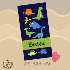 Personalized Beach Towel, Dino Dinosaurs, Monogram Towel, Camp Towel,  Swim Towel, Pool Towel, Birthday Gift, Back to School, Nap Mat by TheBeeBoutiqueNC on Etsy