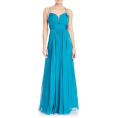 La Femme Strappy Chiffon Gown ($500) ❤ liked on Polyvore featuring dresses, gowns, apparel & accessories, dark turquoise, blue evening dresses, pleated dress, sleeveless dress, blue evening gown and blue dress