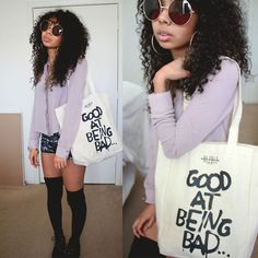 Wow Vintage Gene Round Sunglasses, Hellz Bellz Tote Bag, Free People Long Sleeve, Forever 21 Shorts