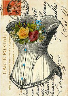 Vintage corset carte postale