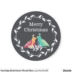 Partridge Birds Rustic Wreath Merry Christmas Classic Round Sticker