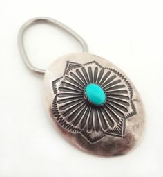 Vintage Sterling Silver and Turquoise Concho Key Chain Ring | eBay