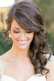 Trendy Wedding Hairstyles Curly To The Side Curls Ideas Medium Hair Styles, Short Hair Styles, Side Hair Styles, Long Hair Wedding Styles, Wedding Hairstyles For Medium Hair, Bridesmaids Hairstyles, Bridesmaid Ponytail, Prom Hairstyles, Hairstyles Pictures