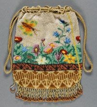 Woman's Bag    Made in United States  c. 1860    Artist/maker unknown, American    Silk, beading  Length x Height: 5 x 7 inches (12.7 x 17.8 cm) Drawstring Length: 13 1/2 inches (34.3 cm)