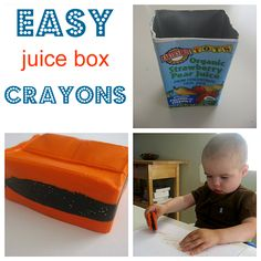 Make chunky crayons for toddlers at home using juice box containers.