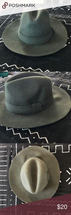 825d26feffd Green Nasty Gal Fedora Army green wool fedora with floppy brim Nasty Gal  Accessories Hats