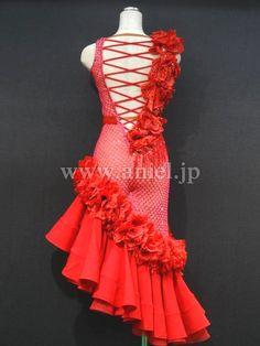 社交ダンスドレスのドレスネットアニエル / L2948・赤&ピンクネット・13万円