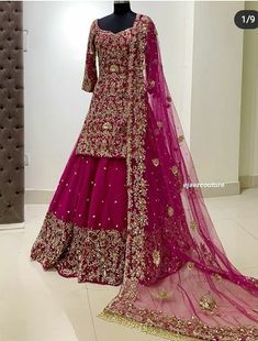 A beautiful bride dress ❤️❤️❤️❤️❤️ Desi Wedding Dresses, Asian Bridal Dresses, Indian Gowns Dresses, Indian Fashion Dresses, Bridal Outfits, Indian Outfits, Pakistani Fashion Party Wear, Pakistani Wedding Outfits, Pakistani Bridal Dresses