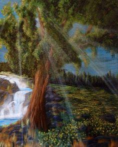 Dandelion field with tree and waterfall acrylic by EdwardBorekArt, $89.00