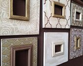 Set of 6 Distressed Wall Frames in Khaki and Svelte Sage with Gold Touches
