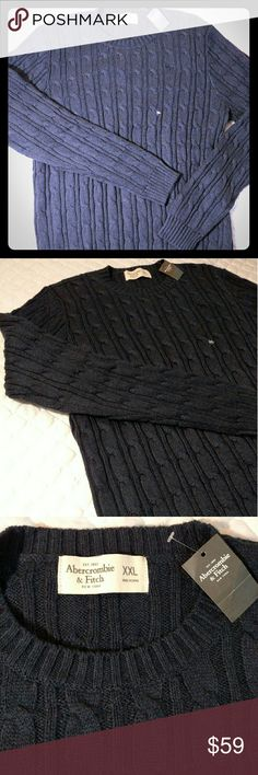 Navy cable knit sweater XXL Navy cable knit, no issues.  Rugged, soft, and blue.... What more do you need?! Abercrombie & Fitch Sweaters Crewneck