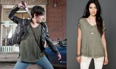 """Trubel (Jacqueline Toboni) wears a Free People The Keep Me Tee in the color Olive in Grimm Season 3 Episode 19 """"Nobody Knows the Trubel I've Seen"""" and Episode 22 """"Blonde Ambition."""" #trubel #grimm #nbc"""