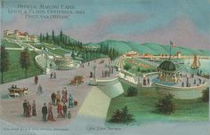 """Penny Postcard: Lake View Terrace, Lewis and Clark Exposition, 1905, Portland, Oregon. Caption on top reads: """"Official Mailing Card Lewis & Clark Centennial, 1905, Portland, Oregon"""". Published by B.B. Rich, Official Stationer. View shows Guild Lake on the right."""