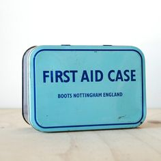 Vintage Blue First Aid Box Boots Pharmacy Nottingham England First Aid Case