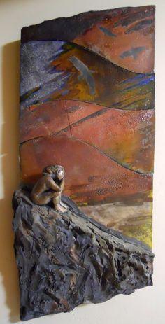 Meditation 2 wall mounted sculpture clay raku by SkiesReveal, $550.00