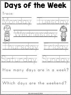 of the Week Worksheets Pre K Worksheets, First Grade Worksheets, English Worksheets For Kids, Free Kindergarten Worksheets, Kindergarten Readiness, Preschool Learning Activities, Homeschool Kindergarten, Writing Worksheets, Preschool Lessons