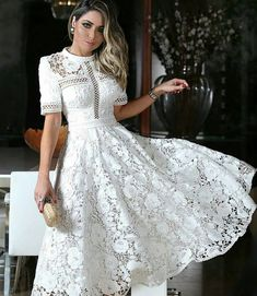 Wedding dresses vintage short white lace new ideas Dress Outfits, Casual Dresses, Fashion Dresses, Summer Dresses, Chiffon Dress, Lace Dress, White Dress, Lovely Dresses, Vintage Dresses