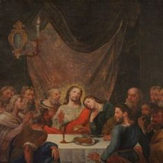 Antique Italian painting from the late century. Oil painting on canvas depicting the subject of sacred art, Last Supper Italian Paintings, Religious Paintings, Last Supper, Antique Market, Antique Paint, Sacred Art, Oil Painting On Canvas, 18th Century, Antiques